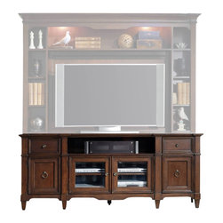 """Hooker Furniture - Riley 78"""" Entertainment Console - White glove, in-home delivery included!  The Riley collection provides organization with flair.  Entertainment console only.  Hutch sold separately.  Two drawers with removable dividers for CD/DVD storage, one open area for center channel/surround speaker, two outside doors with one adjustable shelf behind each, two center wood-framed beveled glass doors with one adjustable shelf behind each, one three plug outlet."""
