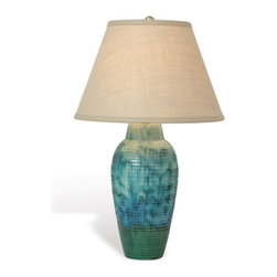 Coastal Cottage Home Furnishings - Malibu Table Lamp. Reactive glaze ceramic blue/green lamp is inspired by colors of the sea. No two pieces will match exactly, but blend for interesting mix of color in the base.