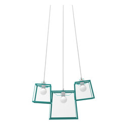 "Iacoli & McAllister - Three Piece Aqua Frame Cluster - Call it the ""anti-chandelier."" Three individual lights (two small and one medium) are combined in a single, striking fixture. Hard-wired installation keeps this modern trio working as one. Ideal for the dining room, entry, stairwell — or anyplace that cries out for a creative lighting solution."