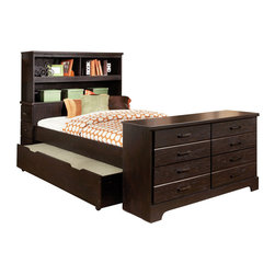 Standard Furniture - Standard Furniture Hideout Bookcase Storage Bed w/ Trundle in Warm Dark Twin - Hideout combines handsome transitional styling with well planned function, great storage options, and the flexibility to create customized room arrangements - - all wishes of youth and parents today. - 66382-TW-TR.  Product features: Smart design features include bluff cuts for a map drawer look, smooth line base rails and desirable extras like dry erase board surfaces and oversized storage ottomans for lounging. ; Hideout's mid height Loft Bed allows a twin size sleeping area above with a Single Dresser and Bookcase fitting beneath. ; For safety there's a sturdy built-in side rail and attached stair unit with nonslip steps, allowing for three drawers within the stair end panel. ; Twin and Full Size Panel Beds are available, with flat crowns that coordinate with the Vertical Mirror. ; There is also Twin and Full Storage Bookcase Headboards, plus a trundle unit that works with a Storage Dresser as its footboard. ; For clothing storage there is a Double Dresser with Vertical Mirror, 4-Drawer Chest and 2-Drawer Nightstand, plus a Table Desk for studying. ; Hideout has sturdy folded case construction using durable engineered wood products with warm dark pecan grained laminate veneers and smoked chrome bar pull hardware.; Surfaces clean easily with a soft cloth.. Product includes: Headboard Base (1); Headboard Hutch (1); Footboard Dresser (1); Rails & Slats (1); Trundle (1). Bookcase Storage Bed w/ Trundle in Warm Dark  belongs to Hideout Collection by Standard Furniture.