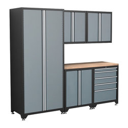 Newage Products - NewAge Products Pro Series 6-Piece Grey Cabinetry Set - The Pro Series 6 Piece Set is an ideal storage solution for any workshop or garage. For a clean,unique,and fresh new look the Pro Series delivers.