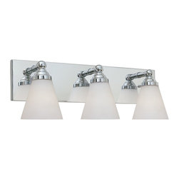 Designers Fountain - Designers Fountain Hudson Bathroom Lighting Fixture in Chrome - Shown in picture: Hudson 3 Light Bath Bar in Chrome finish with White Opal glass