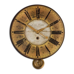 Uttermost - Uttermost 06034  Louis Leniel Cream & Gold Wall Clock - Weathered, laminated clock face with brass accents and pendulum. requires 1-aa battery.