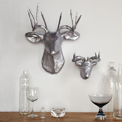 Papier-Mâché Animal Sculptures, Silver Deer - Spruce up a family room with some fun papier-mâché animal heads. These metallic deer heads make me smile every time I see them.