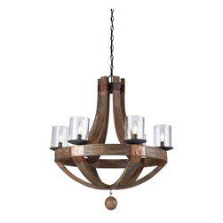 "Artcraft Lighting - Copper Metal 6 Light Chandelier - The Jo Alcorn ""Hockley"" collection features authentic pine as its beautiful frame. Actual copper metal plates decorate this gem. The Hockley series is complimented with a clear cylinder type glass."