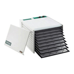 "OMEGA PRODUCTS INC. - Omega Nine Tray Food Dehydrator, 12-1/2""H x 17""W x 19""D, White - Omega Nine Tray Food Dehydrator is great for large families, large gardens, craftspeople or sportsmen. It contains nine large trays with 15 square feet of tray area which makes this the biggest. Perfect for drying herbs, fruits, vegetables, meats, fish, jerky, and even making yogurt. This dehydrator features built in on and off switch and adjustable themostat."