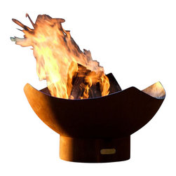 Home Infatuation - Manta Fire Pit - You'll that this burning masterpiece makes a fiery ring into a piece of art on your patio. Signed and numbered by the artist, it's handcrafted of thick, carbon steel pierced with a rain drain on the bottom. The outside sports an iron oxide finish and the inside is coated with a temperature-resistant paint.