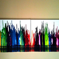 Double Canvas Melted Crayon Artwork By Amesquared - Now this is thinking outside the box. The crayon box, that is. I love this abstract take on a simple box of crayons. What a fun conversation piece for any space.