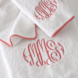 Monogrammed Bath Towels With Piped Border - Bring color to the bathroom with trimmed linens.