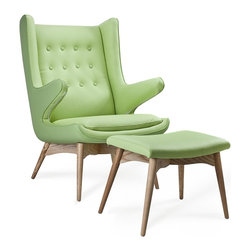 Merton Armchair and Ottoman, Celery - With a fresh new celery green color, the Merton armchair is stylish and perfect for lounging.