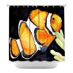 DiaNoche Designs - Shower Curtain Artistic - Deep Sea Life- Clown Fish - DiaNoche Designs works with artists from around the world to bring unique, artistic products to decorate all aspects of your home.  Our designer Shower Curtains will be the talk of every guest to visit your bathroom!  Our Shower Curtains have Sewn reinforced holes for curtain rings, Shower Curtain Rings Not Included.  Dye Sublimation printing adheres the ink to the material for long life and durability. Machine Wash upon arrival for maximum softness on cold and dry low.  Printed in USA.