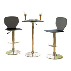 Sonax - CorLiving Slim Adjustable Bar Stool in Black Leatherette (Set of 2) - Sonax - Bar Stools - B702VPD -Style your home with this inviting 2 piece Black leatherette bar stool set from our newest CorLiving Collection. This pair is the perfect way to relax indoors. Height adjustable and easy to wipe clean, the leatherette seat is highlighted with a durable chromed gas lift and base. Simple stitched edges and polished chrome complete the contemporary design. Featured in black this 2 piece set is a great way to make the most of your indoor bar space.