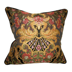 Metrohouse Designs - Aubusson chenille tapestry lampas accent pillow - Upscale Aubusson Tapestry Lampasso Chenille Accent Pillow