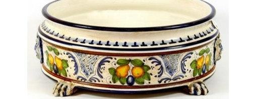 Artistica - Hand Made in Italy - Majolica: Round Centerpiece Bowl - Majolica Collection: