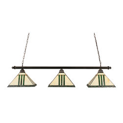 """Toltec - Toltec 403-BC-957 Black Copper Finish 3-Light Square Bar - Toltec 403-BC-957 Black Copper Finish 3-Light Square Bar with 14"""" Green and Metal Leaf Tiffany Glass"""