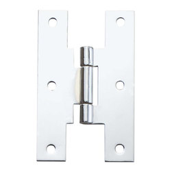 """Renovators Supply - Cabinet Hinges Chrome-Plated 3"""" Solid Brass H Cabinet Hinge - This chrome H hinge is flush, 3 in. high, with holes 1-1/4 in. apart.  There are 3 mounting holes on each leg of the """"H""""."""
