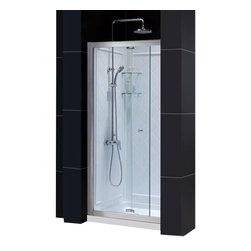 DreamLine - DreamLine Butterfly Frameless Bi-Fold Shower Door - This smart kit from DreamLine offers the perfect solution for a small bathroom renovation with a BUTTERFLY bi-fold shower door, universal shower backwall panels and a coordinating SlimLine shower base. The panels of the BUTTERFLY shower door fold to one side to create an ample walk-through while saving space. The SlimLine shower base incorporates a low profile design for a sleek modern look, while the shower backwall panels have a tile pattern. Choose a beautiful and efficient DreamLine shower kit to completely transform a shower space. Items included: Butterfly Shower Door, 36 in. x 36 in. Single Threshold Shower Base and QWALL-5 Shower Backwall KitOverall kit dimensions: 36 in. D x 36 in. W x 76 3/4 in. HButterfly Shower Door:,  34 - 35 1/2 in. W x 72 in. H ,  1/4 (6 mm) clear tempered glass,  Chrome hardware finish,  Frameless glass design,  Width installation adjustability: 34 - 35 1/2 in.,  Out-of-plumb installation adjustability: Up to 3/4 in. per side,  Space-saving frameless bi-fold door,  Anodized aluminum profiles and guide rails,  Door opening: 23 in.,  Reversible for right or left door opening installation,  Material: Tempered Glass, Aluminum,  Tempered glass ANSI certified36 in. x 36 in. Single Threshold Shower Base:,  High quality scratch and stain resistant acrylic,  Slip-resistant textured floor for safe showering,  Integrated tile flange for easy installation and waterproofing,  Fiberglass reinforcement for durability,  cUPC certified,  Drain not includedQWALL-5 Shower Backwall Kit:,  Color: White,  Assembly required,  Designed to be installed over existing finished surface (not directly against studs),  Includes 2 glass corner shelves,  Attractive tile pattern,  Unique water tight connection of panels,  Durable acrylic/ABS construction,  Trim-to-Size sidewall design,  Must be trimmed during installationProduct Warranty:,  Shower Door: Limited 5 (five) year manufacturer warranty ,  Show