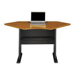 "BBF - BBF Series A 42W Corner Desk - BBF - Computer Desks - WC57442 - Use corner space more efficiently when designing a custom desk and work area with the BBF Series A 42""W Corner Desk. Perfect for a small space solution, or use as a building block to form a larger L-Desk by combining with any Series A Desk. The Corner Desk accepts the 42""W Corner Hutch to add extra storage. Wire management grommets in desktop and legs keep cables under control. Thermally fused laminate work surface resists scratches and stains, and a hefty 1"" thick desktop and leg end panels provide rugged durability to this convenient Corner Desk. Solid construction meets ANSI/BIFMA test standards in place at time of manufacture; this product is American Made and is backed by BBF 10-Year Warranty."