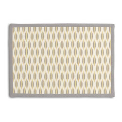 Gray & Yellow Ikat Dot Tailored Placemat Set - Class up your table's act with a set of Tailored Placemats finished with a contemporary contrast border. So pretty you'll want to leave them out well beyond dinner time! We love it in this ikat dot in gray & gold on the softest white cotton sateen. as cute as it is contemporary.
