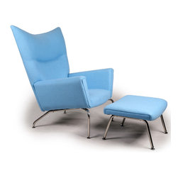 Kardiel Hans J Wegner Style Wing Chair & Ottoman, Baby Blue Boucle Danish Wool - The year was 1960. Danish modern furniture design legend, Hans J Wegner sketched an upholstered wing chair literally on a drawing board using pencil and paper. The chair design had modern clean lines and an unmistakable Danish modern stance. The enveloping wrap provides the front ward looking encased structural groove of the arms. The precise curved wing chair back featured a crease folding inward which spans at shoulder height the width across. Yes, these features were aesthetically genius to the design. But they were also the foundation of Wegneres Ergonomics of modern clean form and comfort in functionality. The CH445 Wing Chair provides unexpected comfort in multiple seating positions from curled up to proper upright.