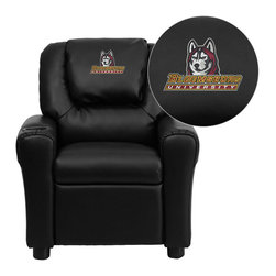 "Flash Furniture - Bloomsburg University Huskies Embroidered Black Vinyl Kids Recliner - Get young kids in the college spirit with this embroidered college recliner. Kids will now be able to enjoy the comfort that adults experience with a comfortable recliner that was made just for them! This chair features a strong wood frame with soft foam and then enveloped in durable vinyl upholstery for your active child. This petite sized recliner is highlighted with a cup holder in the arm to rest their drink during their favorite show or while reading a book.; Bloomsburg University Embroidered Kids Recliner; Embroidered Applique on Oversized Headrest; Overstuffed Padding for Comfort; Durable Black Vinyl Upholstery; Easy to Clean Upholstery with Damp Cloth; Cup Holder in armrest; Solid Hardwood Frame; Raised Black Plastic Feet; Intended use for Children Ages 3-9; 90 lb. Weight Limit; Meets or Exceeds CA117 Fire Resistance Standards; Safety Feature: Will not recline unless child is in seated position and pulls ottoman 1"" out and then reclines; Assembly Required: Yes; Country of Origin: China; Warranty: 2 Years; Weight: 17.5 lbs.; Dimensions: 27""H x 24""W x 21.5 - 36.5""D"