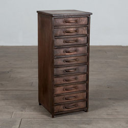 CG Sparks - Declan 10-Drawer Chest Multicolor - 1211741001 - Shop for Dressers from Hayneedle.com! Perfect for filling that empty corner or partnering with your computer desk dresser or vanity the Declan 10-Drawer Chest is a tall slim unit that packs plenty of storage. Ten full-extension drawers are built into the design of this cabinet each featuring an iron pull handle and a plethora of room that's ideal for keeping papers files make-up and more. The unit is supported by a sturdy solid steel frame and is protected from scratches by a beautiful brushed antique copper finish. Handcrafted in India this cabinet provides a fine rustic flavor to any decor.