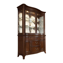 American Drew - American Drew Cherry Grove NG China Cabinet in Mid Tone Brown - Display your fine china in style with this beautiful traditionally styled china cabinet by American Drew. Store your silverware and other valuables in the the buffet base which features four drawers and two doors. Behind both base doors are an adjustable shelf to accommodate storage for a range of different-sized items. The china desk has two glass doors, four glass shelves, and two can lights. This china cabinet is made of solid and select hardwoods and cathedral cherry veneers with a rich mid tone brown finish.