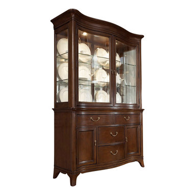 American Drew - American Drew Cherry Grove NG China Cabinet in Mid Tone Brown - Display your fine china in style with this beautiful traditionally styled china cabinet by American Drew. Store your silverware and other valuables in the buffet base which features four drawers and two doors. Behind both base doors are an adjustable shelf to accommodate storage for a range of different-sized items. The china desk has two glass doors, four glass shelves, and two can lights. This china cabinet is made of solid and select hardwoods and cathedral cherry veneers with a rich Mid tone brown finish.