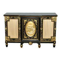 MBW Furniture - Black Gold Italian Buffet Sideboard Server Cabinet - Painted Black & Gold