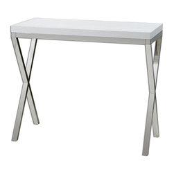 Uttermost - Bjorn Modern Console Table - Chrome metal base with gloss white, crocodile-embossed, polyurethane tabletop.