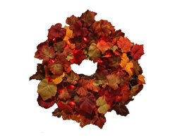 The Firefly Garden - Crushed in Vine - Illuminated Floral Design - Crushed in Vine is an autumnal wreath sprinkled with tiny accents of red light. This arrangement makes for a lovely door or window accent, as well as a table centerpiece for feasts and celebrations.