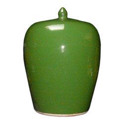 Golden Lotus - Simple Plain Green Glaze Porcelain Vase Jar - This is a clean simple porcelain jar glazed with plain green color.
