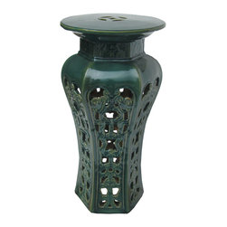 Golden Lotus - Chinese Green Ceramic Ru Yi Coin Floral Graphic Hexagon Shape Plant Stand - This hexagon shape green plant stand is made of ceramic clay and has complicated floral graphic Ru Yi coin Motif on the body instead of traditional hand painting.