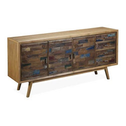 Interlude Home - Interlude Home Anders Sideboard - This Interlude Home Sideboard is crafted from Wood  and Metal and finished in Recycled Boat Wood and Natural Rustic and Antique Silver.  Overall size is:  71 in. W  x  18 in. D x 33 in. H.