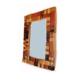 Mirrage, Large Wall Mirror recycled oak wine barrel staves - The frame of our Mirrage, unique wall décor large mirror, is entirely made of scraps of oak wine barrel staves, recycled from used French wine barrels.