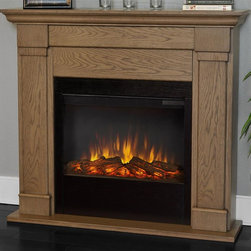 Real Flame - Electric Fireplace in Blonde Oak Finish - Includes wooden mantel, firebox, screen, remote control and anti topple safety device. Realistic and built in look. Plugs into any standard outlet. 1400 watt heater. Rated over 4700 BTUs per hour. Programmable thermostat with display in fahrenheit or celsius. Ultra Bright LED technology with five brightness settings. Digital readout display with up to nine hours timed shut off. Dynamic ember effect. UL and ISTA 3A Certified. Warranty: Ninety days on mantel and One year on electric firebox. Made from solid wood, veneered MDF and powder coated steel. Assembly required. 46 in. W x 9.3 in. D x 41.4 in. H (90.3 lbs.)Unit must be anchored to a wall using the included hardware. The Lowry mantel is the next generation of electric fireplaces.