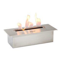 "Ignis - EB1200 Ethanol Fireplace Burner - Allow your creative juices to flow in the design of your own fireplace and then power it with this EB1200 Ethanol Fireplace Burner Insert. This burner is sized just right for smaller designs, and it can also be used in your existing wood-burning fireplace to give you a cleaner, more eco-friendly fuel source. This sleek, modern-looking burner insert doesn't require the use of any electrical lines or gas lines, and you don't need a chimney to use it. It holds 1.5 liters of fuel, and it burns for a full five hours between fills. With 6,000 BTUs of heat to throw, it will keep you toasty warm all season long and is designed to bring comfortable heat to an average-sized room. Dimensions: 11.25"" x 5"" x 3.25"". Features: Ventless - no chimney, no gas or electric lines required. Easy or no maintenance required. Capacity: 1.5 Liter. Approximate burn time - 5 hour per refill. Approximate BTU output - 6000. Double Layer."