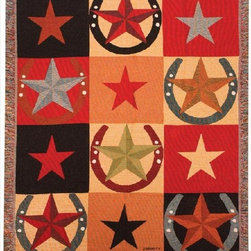 Manual - Star Patterns Western Tapestry Throw Blanket 50 Inch x 60 Inch - This multicolored woven tapestry throw blanket is a wonderful addition to your home or cabin. Made of cotton, the blanket measures 50 inches wide, 60 inches long, and has approximately 1 1/2 inches of fringe around the border. The blanket features a patchwork star and horseshoe print. Care instructions are to machine wash in cold water on a delicate cycle, tumble dry on low heat, wash with dark colors separately, and do not bleach. This comfy blanket makes a great housewarming gift that is sure to be loved.