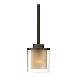 Dolan Designs Lighting - Modern Mini-Pendant Light with Amber Glass - 2951-78 - Perfect for the kitchen or above the bar, this mini-pendant ceiling light features seeded textures etched into its clear glass cylinder; in the center of the shade, a warm amber tone positively glows, in contrast to the cool raindrop effect of the seeds. From the Horizon collection by Dolan Designs, the mini-pendant boasts a Bolivian Bronze finish on the cap and stem. Measures 14-3/4 inches tall by 5 inches wide. Takes (1) 100-watt incandescent A19 bulb(s). Bulb(s) sold separately. UL listed. Dry location rated.