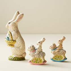 Vaillancourt - Vaillancourt Chalkware Bunny - These chalkware bunnies are an elegant way to say Happy Easter. Kids and adults will cherish them this year and for many years to come. Mom bunny has a basket full of painted eggs. Buff-colored boy bunny and white girl bunny sit atop rocking sheep. All are handcrafted in Massachusetts and destined to become keepsakes. Made in USA. By Vaillancourt.