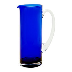 Basis Pitcher, Cobalt - The simple and contemporary style of this cobalt glass pitcher remains an all year round favorite. Its mouth blown opening offers round edges for a softer look and easy pouring.Designedby Monika Lubkowska-Jonas. Handmade in the EU.