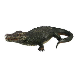 21 Inch Alligator Statue Gator Garden Outdoor Figure - This wonderfully detailed, hand painted alligator garden statue is the perfect gift for gator lovers. Measuring 21 inches long, 9 1/2 inches wide and 4 3/4 inches tall, the alligator has incredible detail, and looks very realistic. It is made of cold cast resin, and can be displayed indoors or outdoors.