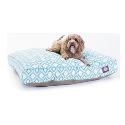 MAJESTIC PET PRODUCTS - Santorini Tiles Rectangle Pet Bed - This stylish rectangular pet bed looks great in any room of your house and is filled with ultra-plush fiberfill for luxurious napping. The removable zippered slipcover is made from outdoor-treated, UV-protected polyester for durability, and the base is made from heavy-duty waterproof 300/600 denier fabric that can go inside or out. Spot clean the slipcover and hang dry. Comes in a variety of colors and patterns, so you can pick the one that complements your decor.