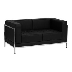 Flash Furniture - Hercules Imagination Series Contemporary Black Leather Love Seat with Encasing F - This attractive black leather reception love seat will complete your upscale reception area. The design of this love seat allows it to adapt in a multitude of environments with its smooth upholstered back, tufted seat cushions and visible accent stainless steel frame.