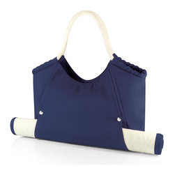 Picnic time - Cabo Beach Tote with Mat Navy - The Cabo Beach Tote conveniently combines your personal tote and beach mat in one integrated pack. The durable canvas bag has soft rope handles that make carrying a breeze. An exterior pocket on the back stores smaller accessories for easy access, while a magnetic clasp keeps the main compartment closed. The personal-sized woven bamboo beach mat features an integrated zip-up cover to keep it from unfolding, and easily slides into the exterior flap on the tote. The flap then snaps to secure the mat in place. Available in Navy, Red, and Tan, the Cabo, carries your beach mat and personal items together effortlessly! Extended mat: 23 x 69. Tote: 20 x 14.