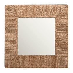 Kouboo - Square Braided Sea Grass Mirror - Bring geometric, woven loveliness to your home with this braided sea grass framed mirror. This naturally inspired square mirror is the perfect piece for any space in the house that needs a little reflection.