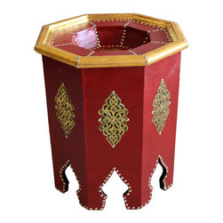 Badia Design Inc. - Octagon Shaped Metal and Leather Side Table, Red - Colorful Moroccan side table made with stretched leather, silver buttons and gold colored metal. This makes for a unique and colorful side table that can be used in any room in your home, apartment or office.