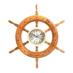 Bey-Berk International 24 in. Brass/Oak Ships Wheel, Clock - Tarnish Proof - The Bey-Berk International 24 in. Brass/Oak Ships Wheel, Clock T.P. provides your first mate with an easy-to-read timekeeping piece, so you can maintain your shore excursion schedule. The warm finish on the solid oak is a nice complement to the mellow tarnish-proof brass accents. Features an analog quartz-movement. About Bey-Berk InternationalThis quality item is created by Bey-Berk. For more than 20 years, Bey-Berk International has crafted and hand-selected unique gifts and accessories from around the world to meet the demands of discerning customers. With its line of elegant and distinctive products, Bey-Berk has established itself as a leader in luxury accessories.