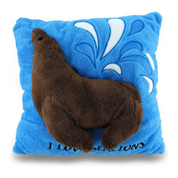 Zeckos - I Love Sea Lions Soft Blue and Brown Fuzzy Textured 2D Throw Pillow 14 in. - This 100% polyester blue and brown super soft throw pillow features a raised 2D image of a sea lion, a fuzzy textured surface and measures 14 inches long by 14 inches wide (36 x 36 cm). It's perfect in a nursery, tossed on the bed and is great for cuddling with while watching your favorite movie or reading a book. It makes a wonderful gift for any sea lion fans, moms to be or just to have something soft around for yourself!