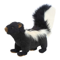 Hansa - Hansa Adult Skunk - This Skunk does not stink! Hansa Skunk is made from black plush with a large white stripe down his back and on his fluffy tail. Ages 3 and up. Airbrushed for detail.